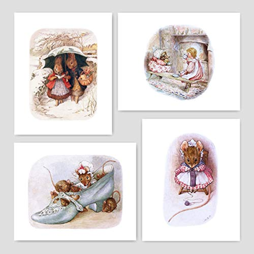 Peter Rabbit Prints (Nursery Art Girls, Beatrix Potter Wall Decor) Unframed 5x7 – Set of 4