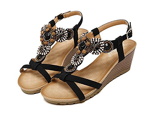 YOUJIA Womens Casual Peep-Toe Ankle Strap Buckle Shoes Roman Sandals With Wedge Heel Black nU33y