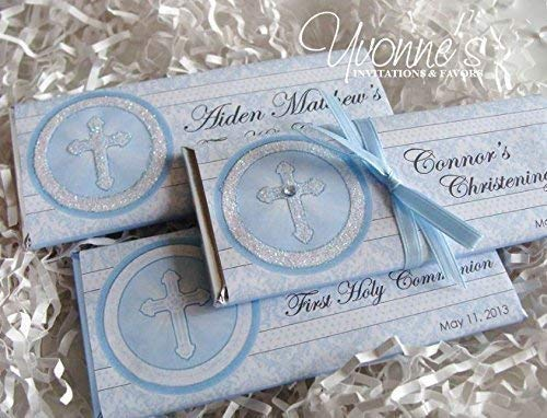 Communion/Christening Candy Bar Wrappers-Personalized Wrappers for Chocolate Bar Favors-Holy Cross in Blue-Communion, Christening, Baptism, Confirmation (SET OF 12) ** Chocolate Not Included **