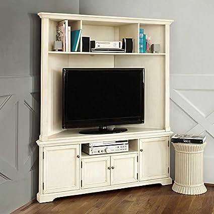 Reston corner media console with hutch ballard designs