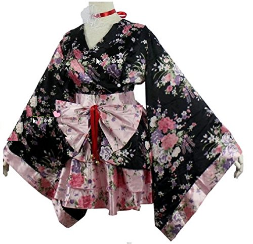 [T2C:Anime Cosplay Lolita Halloween Fancy Dress Japanese Kimono Robe Costume(SIZE-S)] (Last Minute Diy Toddler Halloween Costumes)