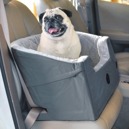 K & H Elevated Front and Back with safety belt Bucket Booster Pet Seat - Large / Grey by K&H Manufacturing by K & H