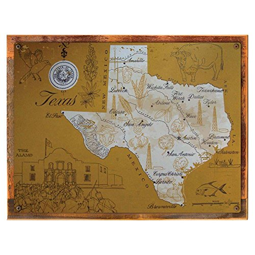 Wood-Framed Texas Map Metal Sign, Vintage Travel Postcard Highlighting Traditional Americ... on reclaimed, rustic wood ()