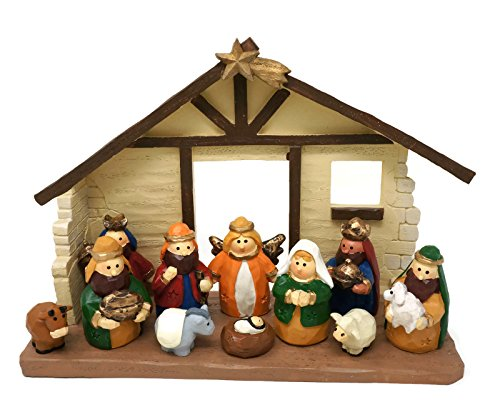 One Holiday Lane Large Size Kids Christmas Nativity Scene with Creche, Set of 12 Figures -