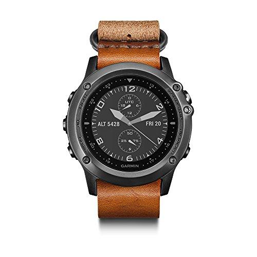 Garmin 010-N1338-80 Fenix 3 Sapphire Running Sport GPS Watch, Grey with Leather, Refurbished by Garmin