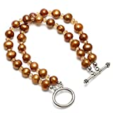 Aobei Dyed Bronze Freshwater Cultured Pearls Bracelet,Two Strands Knotted Pearls Jewelry Wristband