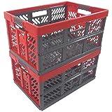 2 x Profesional - Klappbox TÜV certficado 45 L hasta 50 kg anthracite / rojo Caja plegable Plástico Cajón Caja