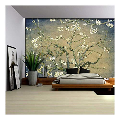 Green with Blue Vignette Almond Blossom by Vincent Van Gogh Wall Mural