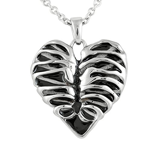 Controse Silver-Toned Stainless Steel Rib Cage Heart Necklace 17 - 19 Adjustable Chain