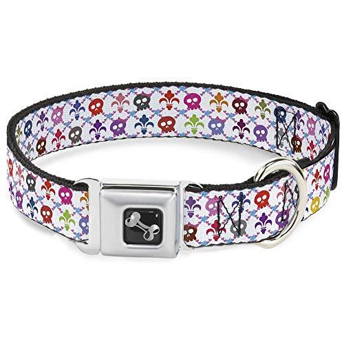 (Buckle-Down Seatbelt Buckle Dog Collar - Skull & Fleur-de-Lis White/Multi Color - 1