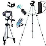 FOANT Aluminum Professional Lightweight Camera Tripod for iPhone, Cellphone,Gopro Hero,Cameras,Camcorder with Cellphone Holder Clip and Remote Shutter-42'/Silver