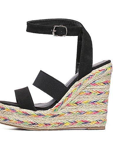 ShangYi Womens Shoes Fleece Wedge Heel Open Toe Sandals Party & Evening / Dress Black Black