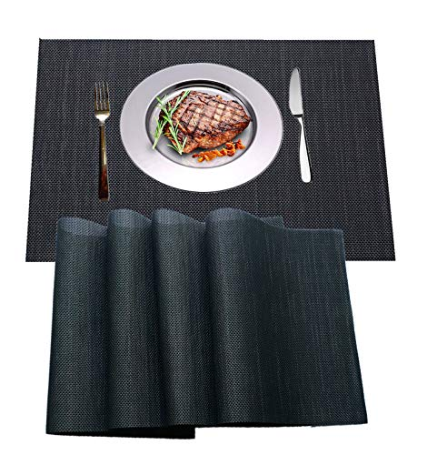 IMIYOKU Placemat, MiniBasketweave Woven Vinyl Non-Slip Insulation Placemat Washable Table Mats (4, Livid)]()
