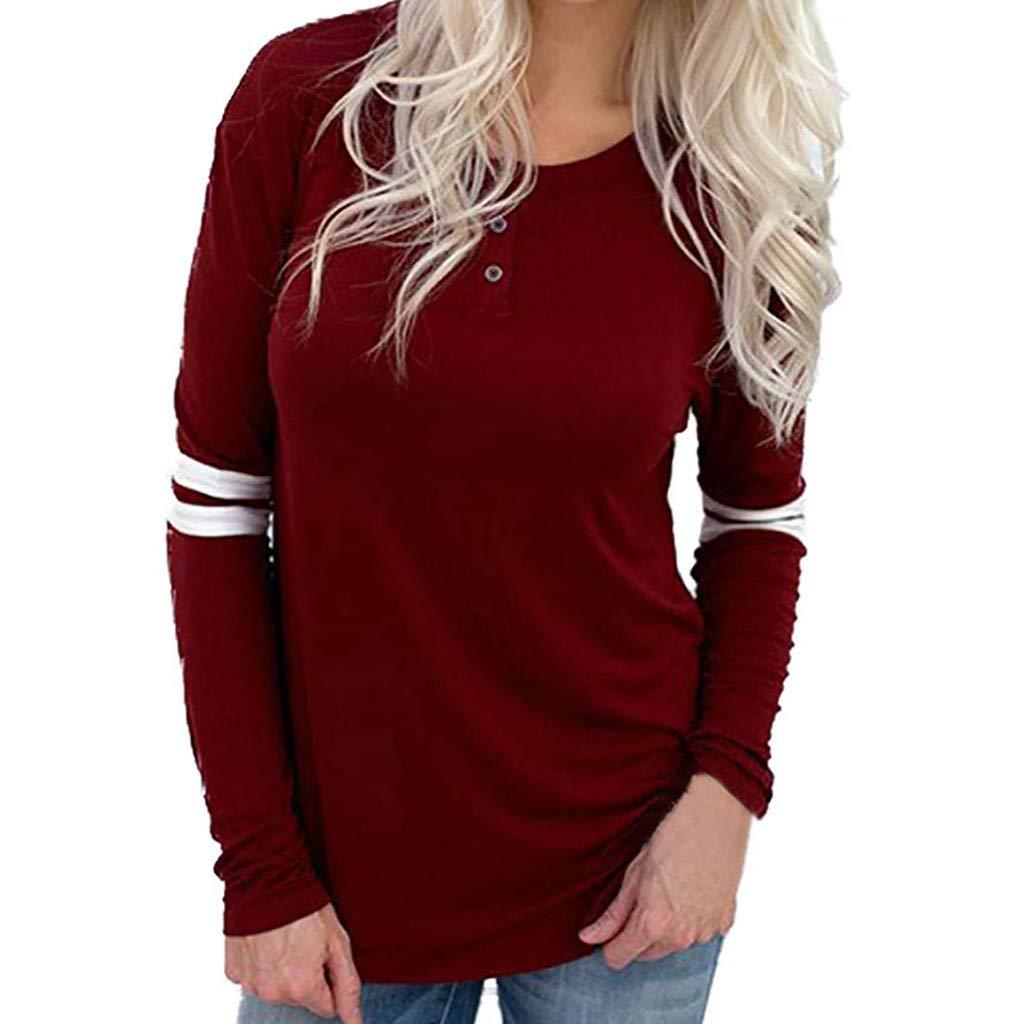 Ulanda Long Sleeve Comfy Shirts for Women Casual Button Blouse Striped Tunic Tops Henley Shirt