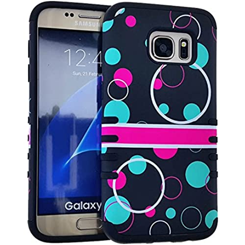 (Samsung Galaxy S7) (Slim Rocker Case) Rubberized Polka Dots Circles Black Teal Pink White Snap Black Skin Sales