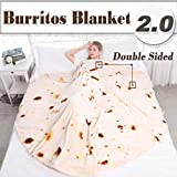 mermaker Burritos Tortilla Blanket 2.0 Double Sided 71 inches for Adult and Kids, Giant Funny Realistic Food Throw Blanket, 280 GSM Novelty Soft Flannel Taco Blanket