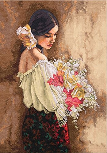 Dimensions Needlecrafts Counted Cross Stitch, Woman With Bouquet (Cross Stitch Counted Woman)