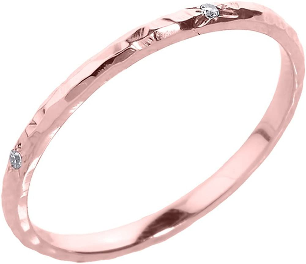 10k SOLID yellow Gold 1mm Wedding Stacking Band Ring Hammerd ring fine ring