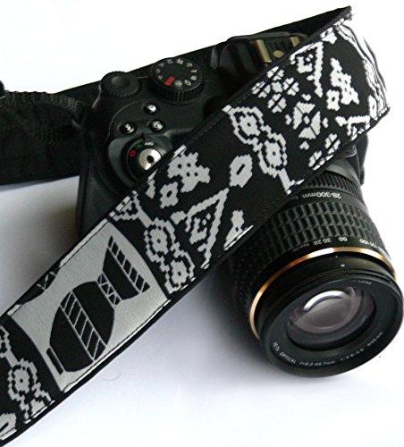 Aztec Camera Strap. DSLR, SLR Camera Strap. Black and Gray Camera Strap. Camera Accessories; 209