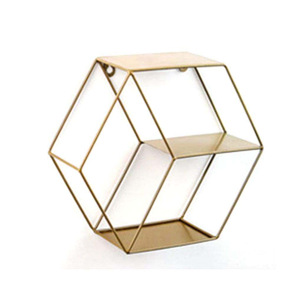 d/écoration murale Support mural pour /étag/ère murale en fer stockage hexagonal forg/é pour le salon /étag/ère vivante en fer hexagonal en fer simple