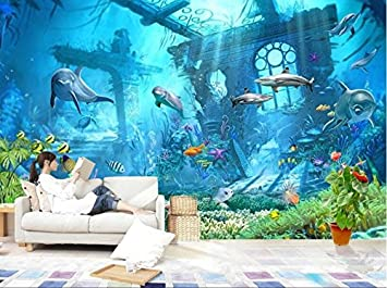 Wh-Porp Unterwasserwelt Ozean Delphin Hintergrund Wall 3D ...