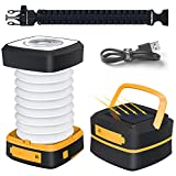 LED Camping Lantern - Quntis LED Camping Lantern Light - Rechargeable Led Camping Light - Portable Flashlight Solar Mini Torch Night Light for Outdoor Hiking Tent Garden Patio Emergencies - Collapsible and Waterproof