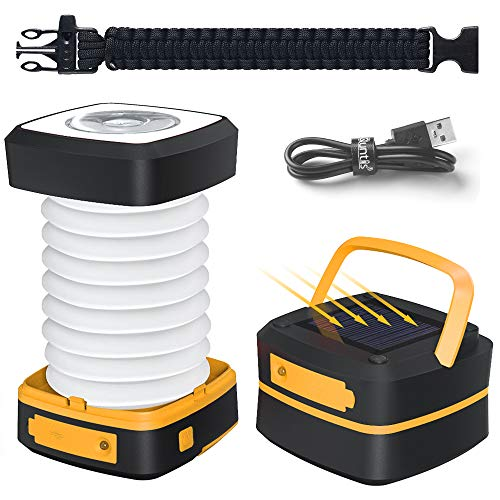 Quntis LED Camping Lantern Light - Rechargeable Led Camping Light - Portable Flashlight Solar Mini Torch Night Light for Outdoor Hiking Tent Garden Patio Emergencies - Collapsible and Waterproof