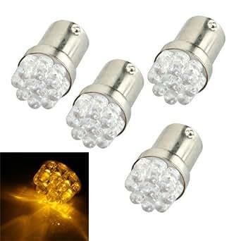 4 x Bombillas 1156 BA15S ámbar 9 LEDs luz aparcamiento freno trasera 12V coche