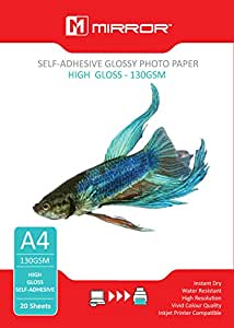 Mirror MP130SA - Papel fotográfico brillante autoadhesivo (A4, 130 g/m², 20 hojas)