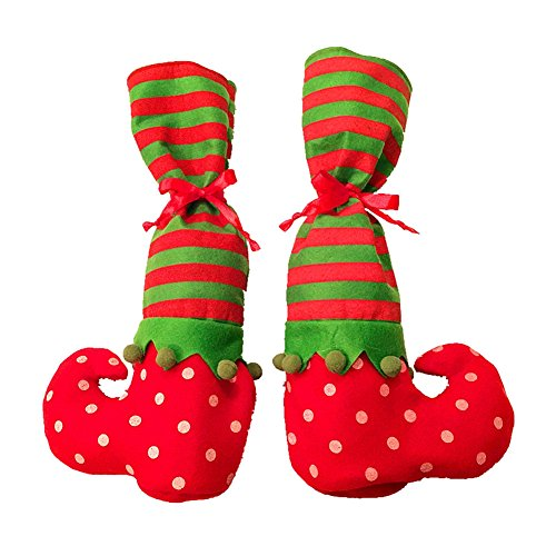 Christmas Elves Cookie - Christmas Candy Cookie Gift Bags Elf Elves Feet Shoes Table Leg Wine Covers Bag Party Home Decorations (Pack of 4)