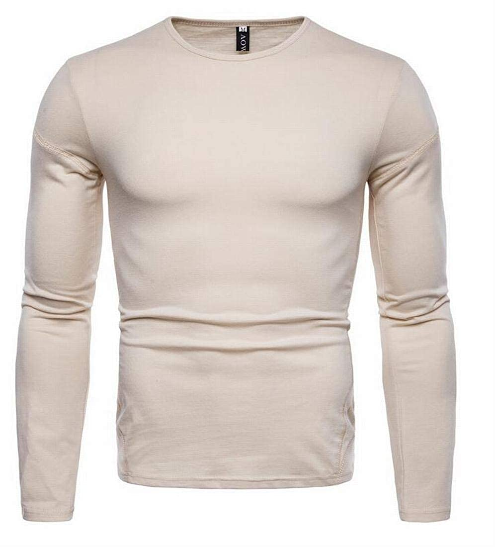 Rrive Mens Round Neck Solid Long Sleeve Comfy Slim Fit Basic Casual T-Shirts Tee