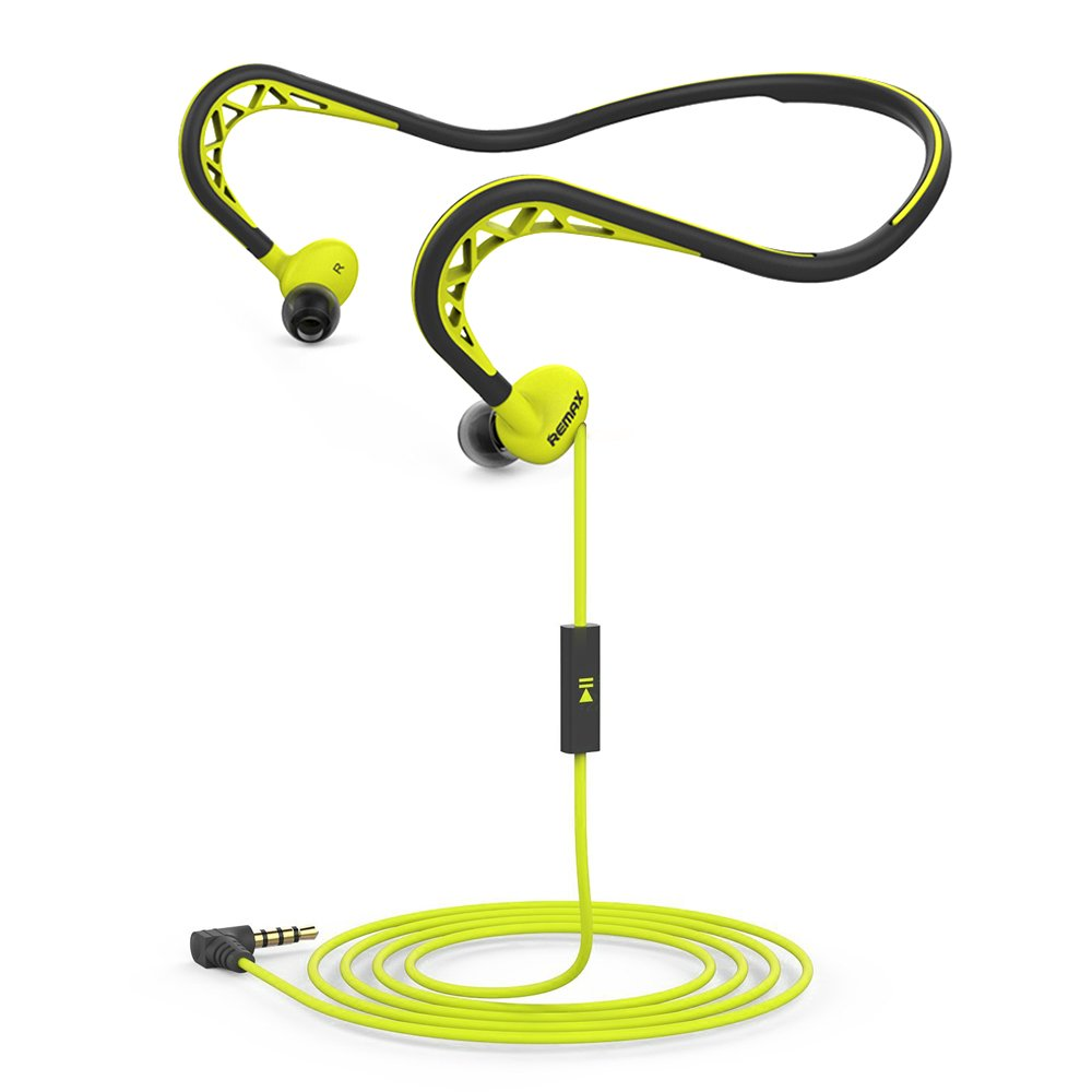 Remax Neckband Sports Earbud, Workout Earphone with Microphone, Stereo Headset with Noise Isolating, Sweatproof In-Ear Headphone with 3.5mm Jack for iPhone Android (Green)