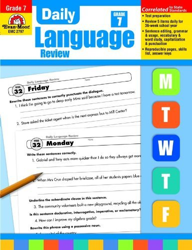 Evan-Moor Daily Language Review, Grade 7 Teacher's Edition - Supplemental Teaching Resource Workbook, 36 Weeks of Lessons ()