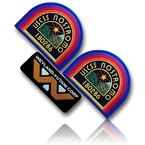 [3 Set Count] Custom and Unique (4'' Inch) Curved Half Square Shaped ''USCSS NOSTROMO 180286'' Weyland Yutani Corp Alien Collector Cosplay Costume Embroidered Sew Iron On Patch {Multicolored} {LICENSED} by 13th Titan