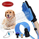 WOWGO 2018 NEWEST Pet Bathing Tool Dog Shower Sprayer Scrubber Grooming Glove with 3 or 4 Faucet Adapters for Dog Cat Horse Indoor Outdoor Use
