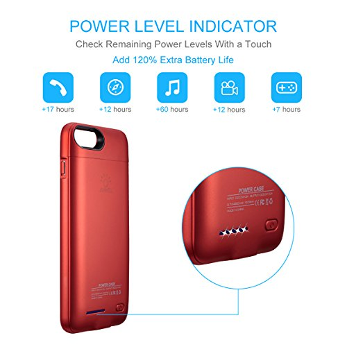 """iPhone 8 plus / 7 plus / 6 plus / 6S plus Battery Case, Ultra Thin Rechargeable iPhone 7plus / 6 plus / 6S plus Case Battery with 4200mAh Capacity from SUNWELL (5.5"""" Red) by SUNWELL (Image #3)"""