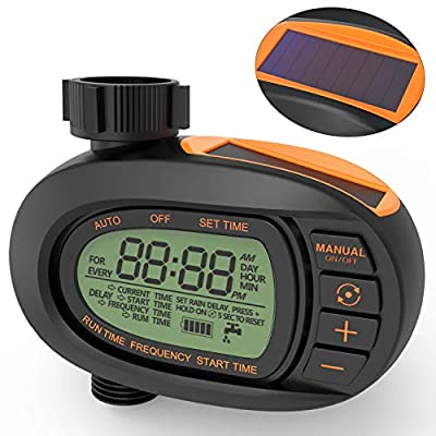 TACKLIFE Watering Timer, Solar Powerd Garden Timer, Large LCD Display Screen, Big Comfortable Buttons, Smooth and Concise Oval Design, Single-Valve, GWT1A