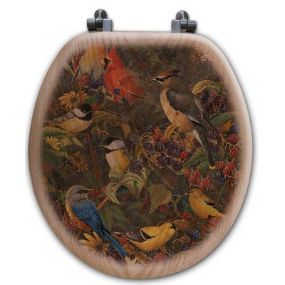 WGI Gallery TS-R-BBSB Berry Bush Songbirds Round Toilet Seat