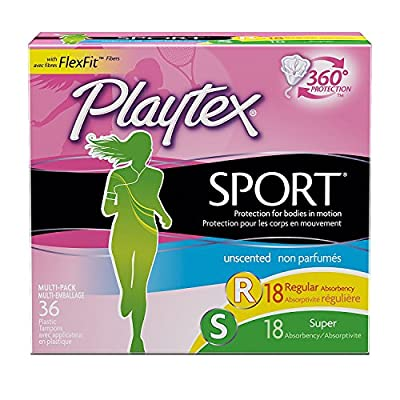 Playtex Sport Tampons with Flex-Fit Technology, Regular and Super Multi-Pack, Unscented