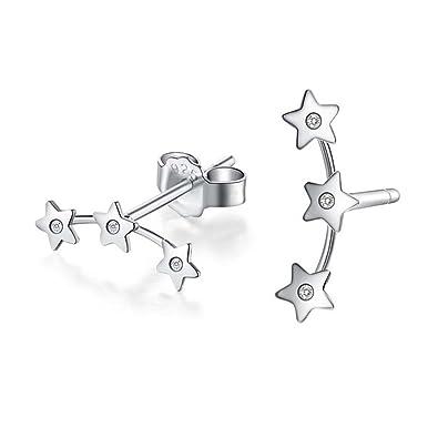 Infinite U 925 Sterling Silver 3 Pentagrams Stars Ear Studs Earrings Earbob for Women/Girls, Silver