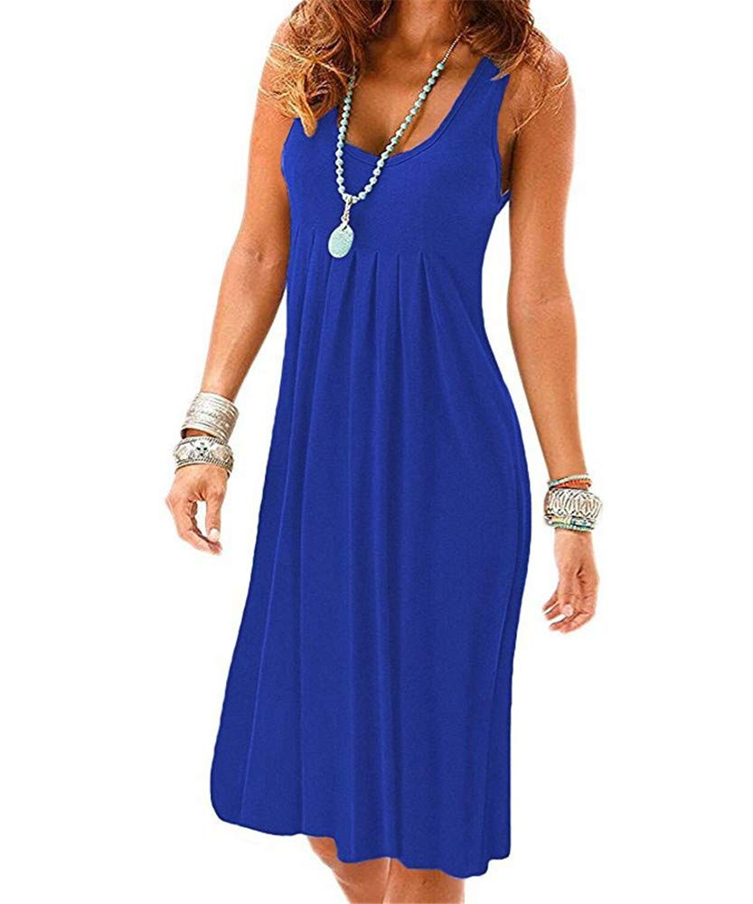 New Solid color Dress Large Size Round Neck Vest Skirt Sleeveless Holiday Dress,bluee,L