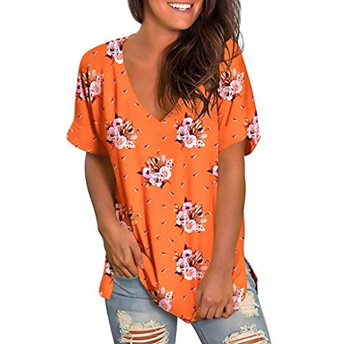 Tantisy ♣↭♣ Womens Summer Short Sleeve T Shirts V Neck Tunic Roll Up Tops Cute Tees Loose Fitted Henley Workout Shirts