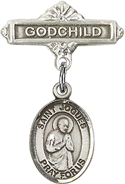 Sterling Silver Baby Badge with St Isaac Jogues Charm and Godchild Badge Pin Made In USA Isaac Jogues Charm and Godchild Badge Pin Jewels Obsession Baby Badge with St