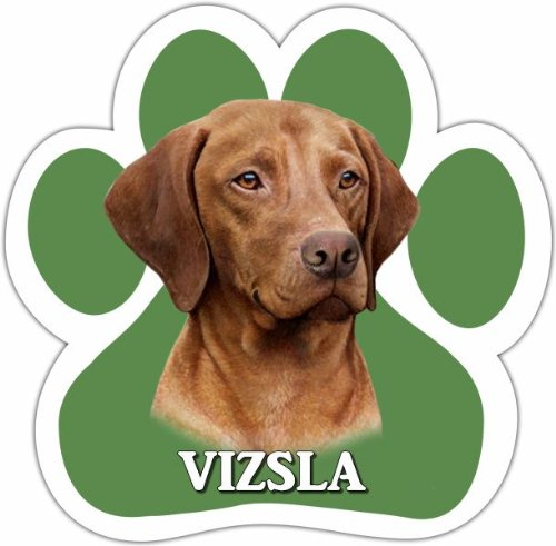 Vizsla Car Magnet With Unique Paw Shaped Design Measures 5.2 by 5.2 Inches Covered In UV Gloss For Weather Protection]()