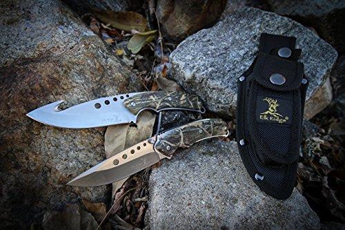 Elk Ridge ER 054CA 8.5 Inch Fixed and 5 Inch Folder Hunting Knife Set