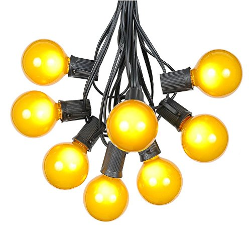 G50 Patio String Lights with 25 Yellow Globe Bulbs - Outdoor String Lights - Market Bistro Café Hanging String Lights - Patio Garden Umbrella Globe Lights - Black Wire - 25 Feet