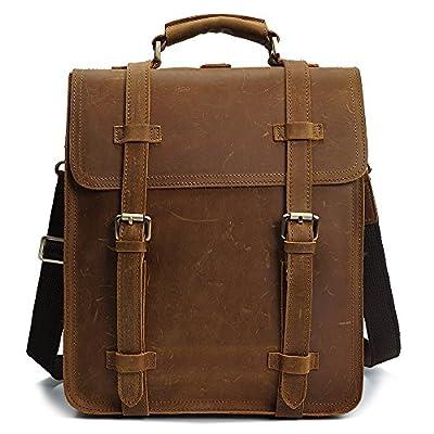 S-ZONE Men's Vintage Crazy Horse Genuine Leather Backpack Messenger Shoulder Bag