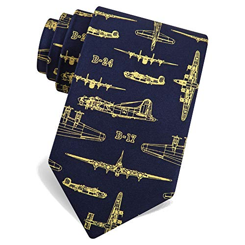 Alynn 100% Silk Blue Flying Fortress WWII Bomber Military Airplane Fighter Jets Tie Necktie, Navy Blue