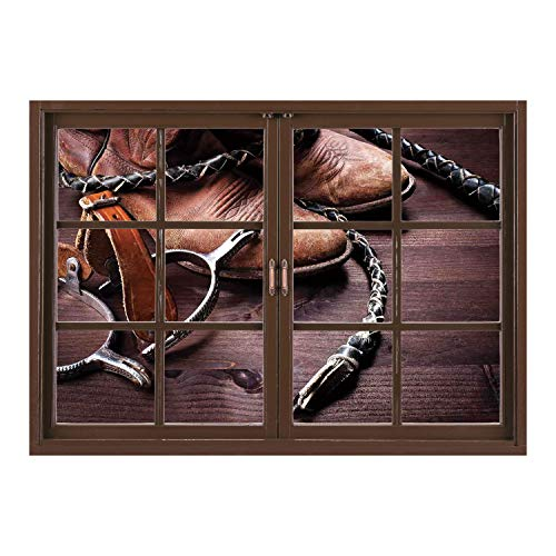 SCOCICI Window Mural Wall Sticker/Western Decor,Authentic Old Leather Boots and Spurs Rustic Rodeo Equipment USA Style Art Picture,Brown/Wall Sticker Mural