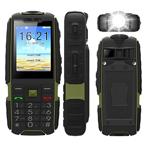 Rugged GSM Phone, UNIWA Unlocked Power Bank Mobile Phone IP67 Waterproof Outdoor Flashlight Mobile Phone with 2.4 Inch Large Screen & 6000mAh Battery & Ultra-long Standby Time for Adult & Senior & Kid